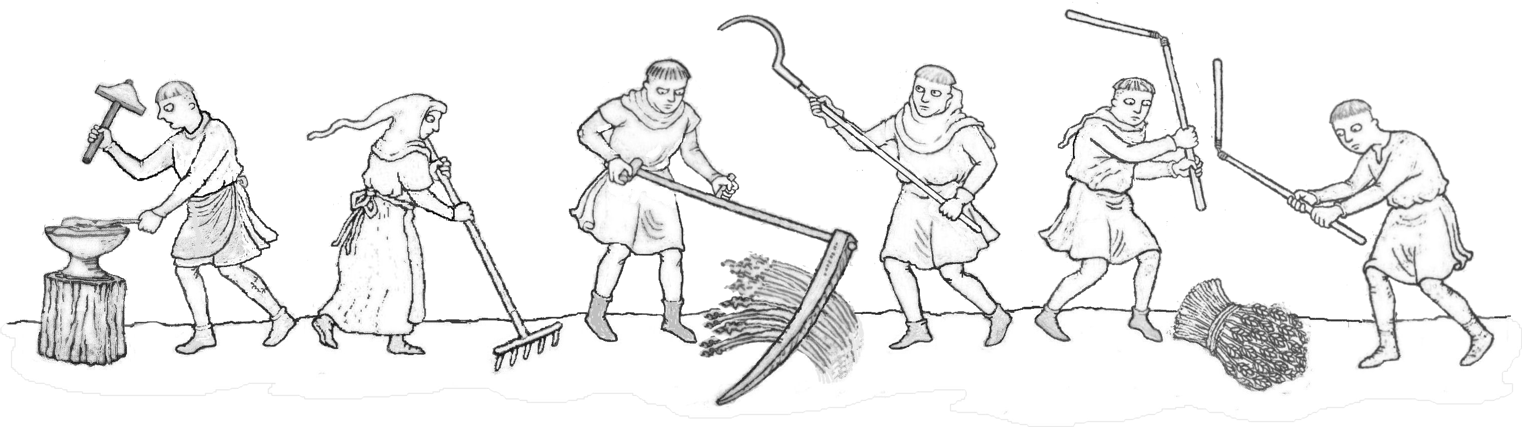 Peasants with flails and implements