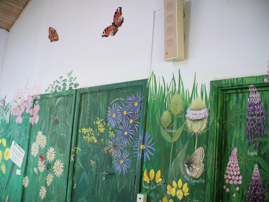 Row 3 No 1 - Wildflower mural - wide view w butterflies, Rosebay Willowherb, Oxeye Daisy, Michaelmas Daisy, Teasel
