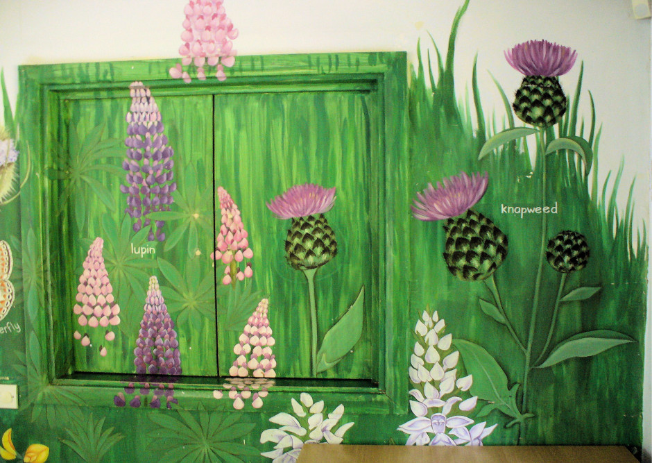 Row 3 No 2 - Wildflower mural - Lupins and Knapweed