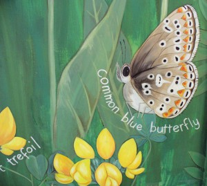 Row 5 No 3 - Wildflower mural - Common Blue Butterfly (underside), Birdfoot Trefoil
