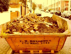 VicBrk3 Old Victorian bricks dumped into skip