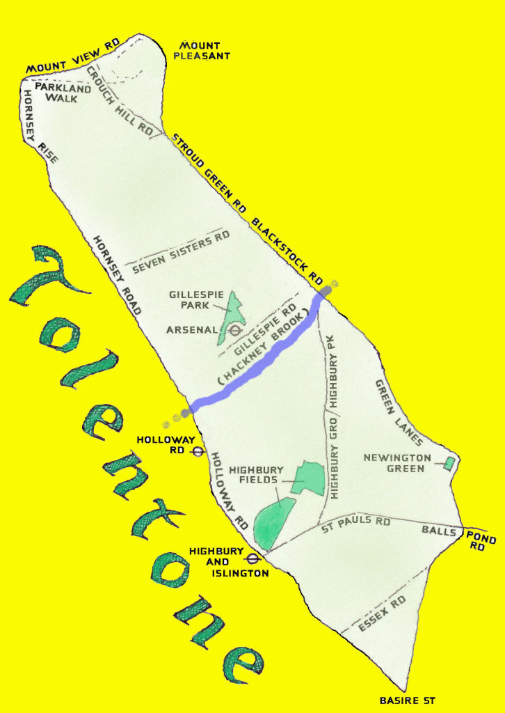 map of Tolentone colour green with blue hackney brook