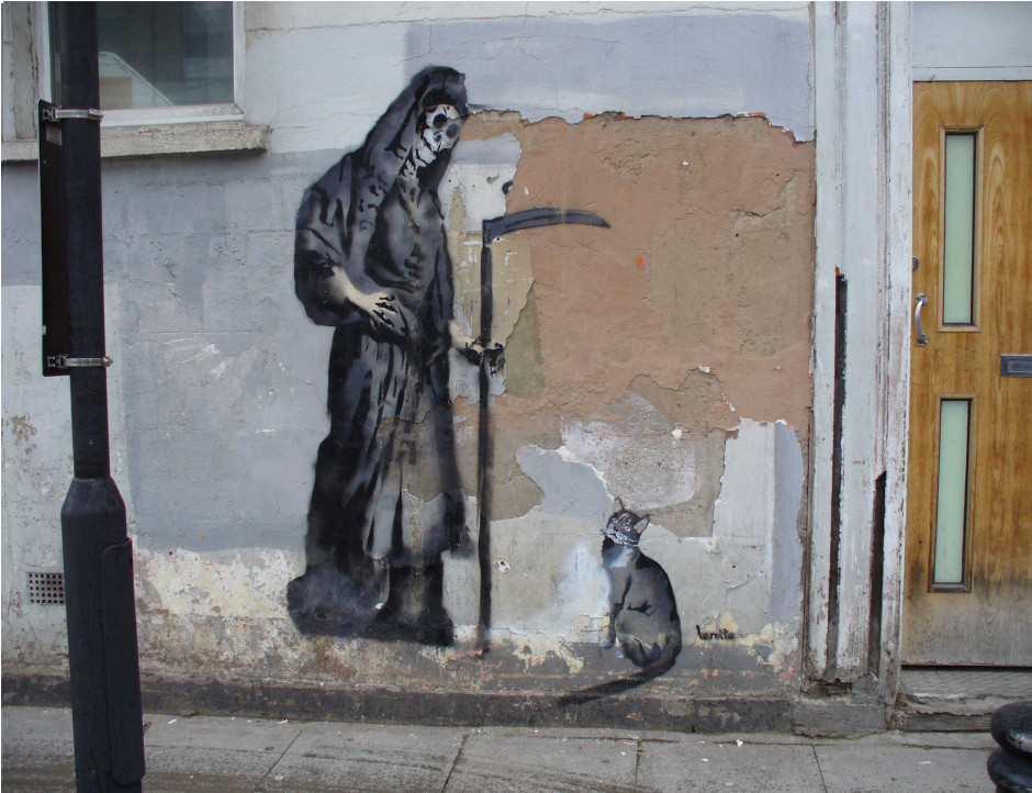 Row 2 No 1 Banksy cat with grim reaper